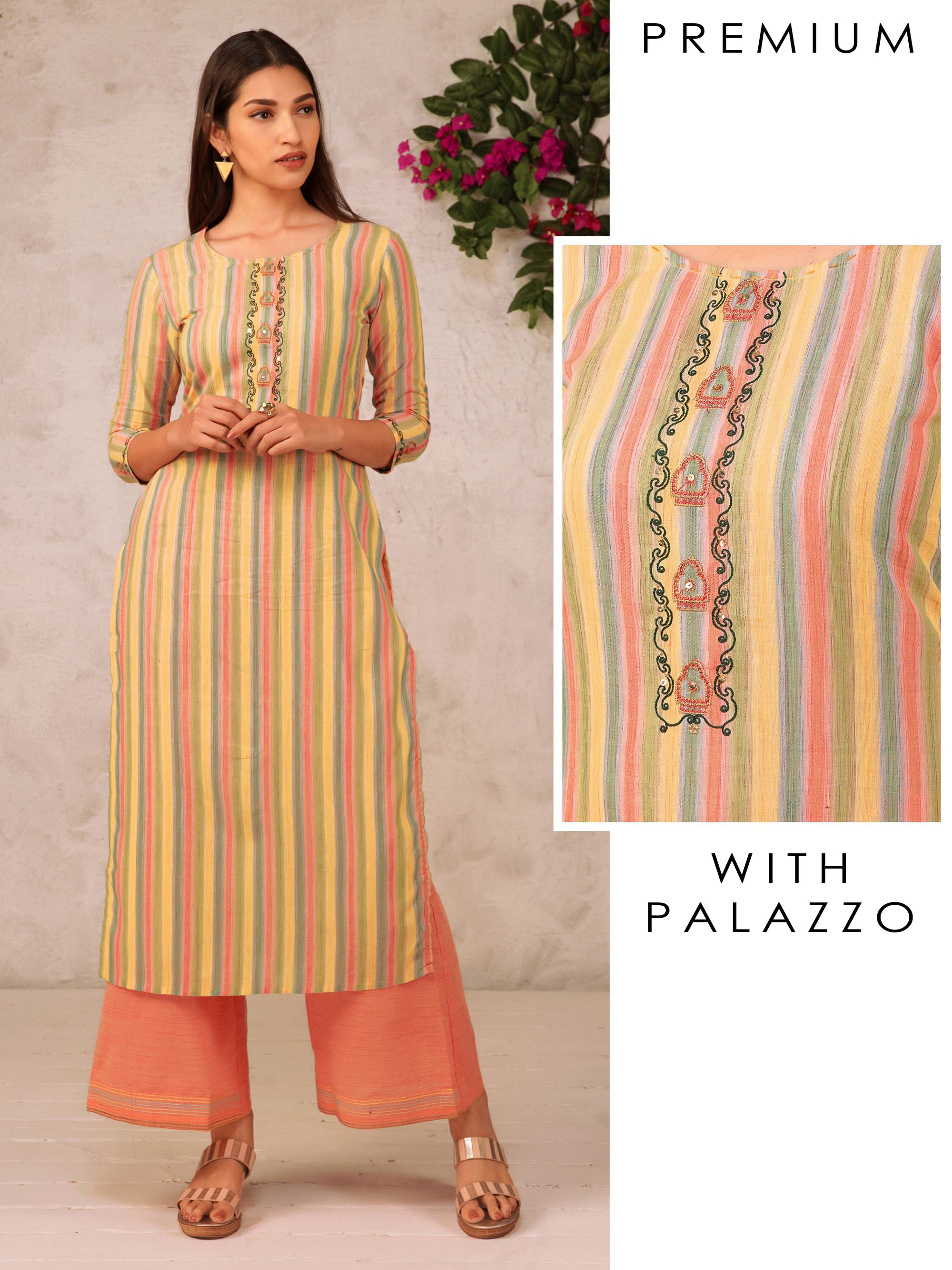 Chalk Striped Printed Kurta With Palazzo
