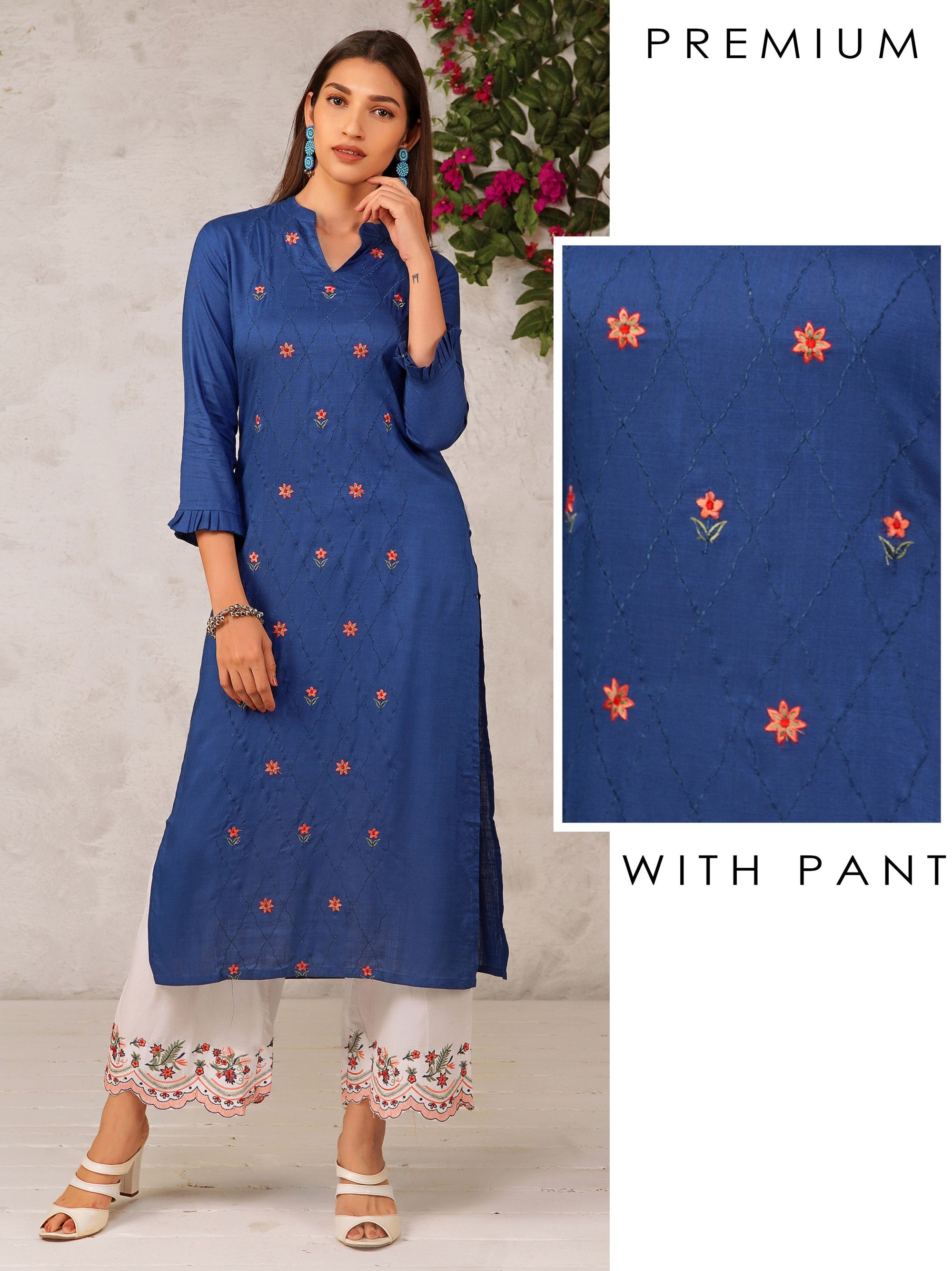 Minimal Floral Embroidered Kurti & Scalloped Palazzo Set
