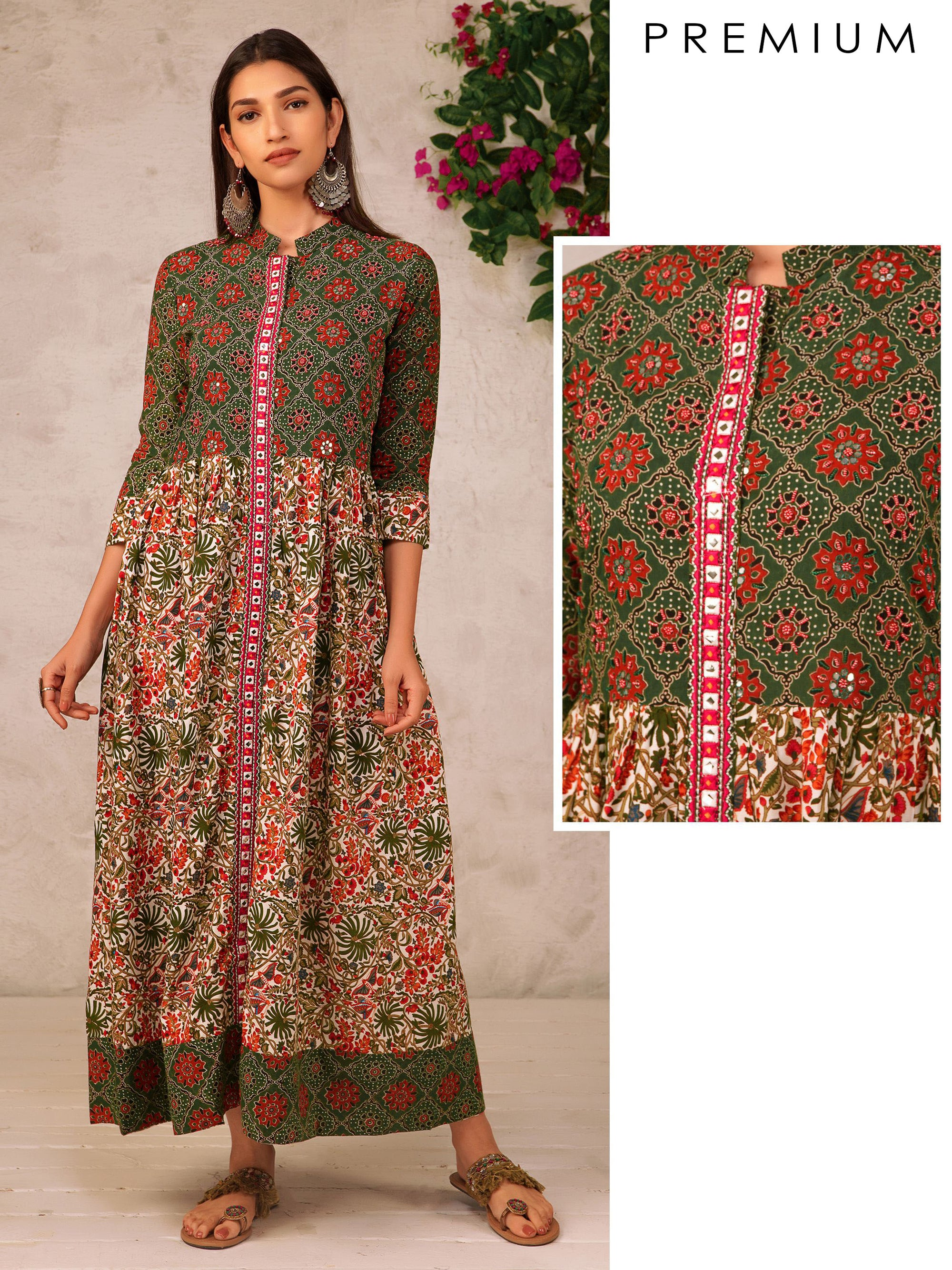 Ajrak & Floral Printed & Embroidered Flared Kurti