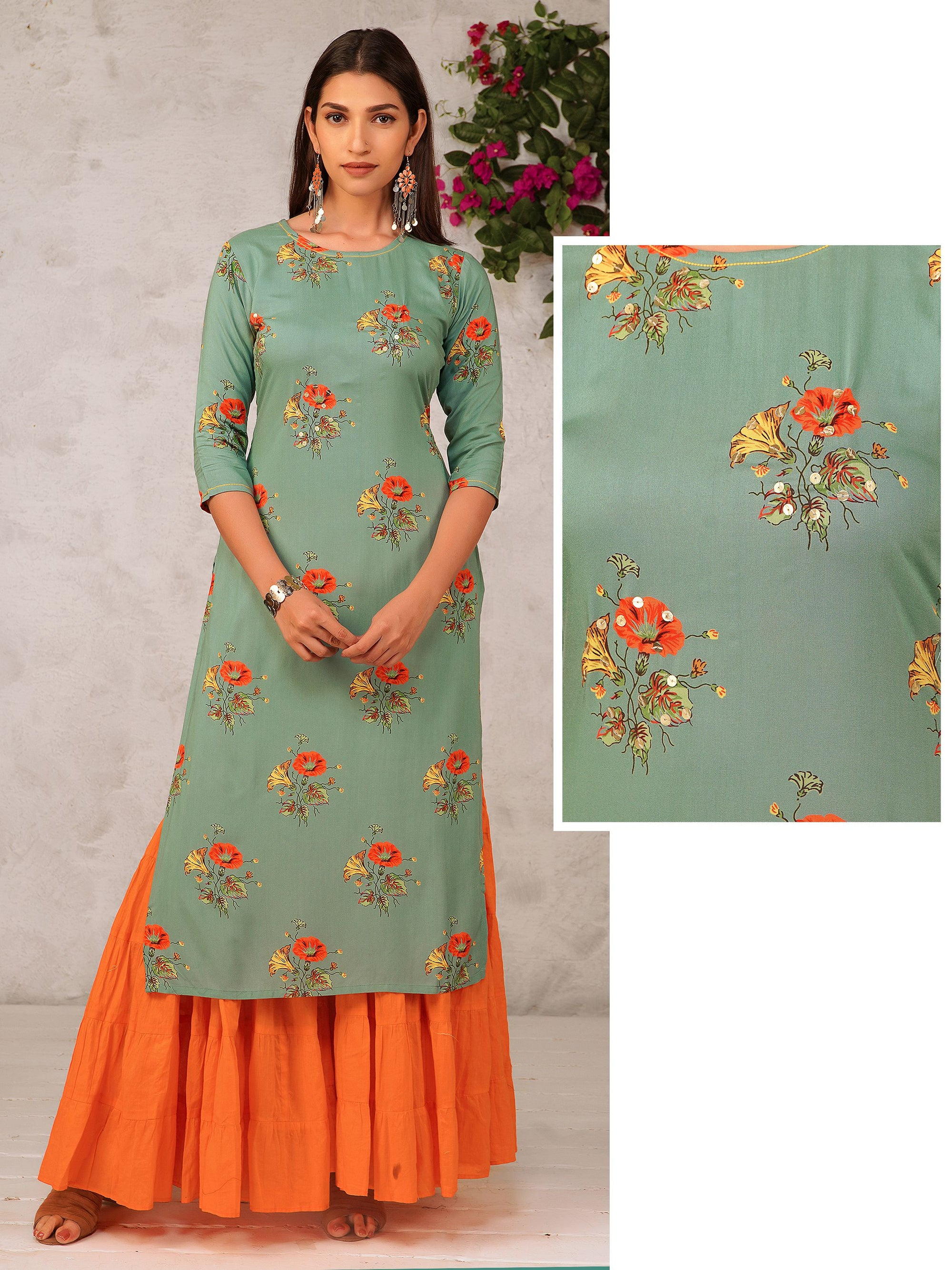 Floral Kurta With Sequins