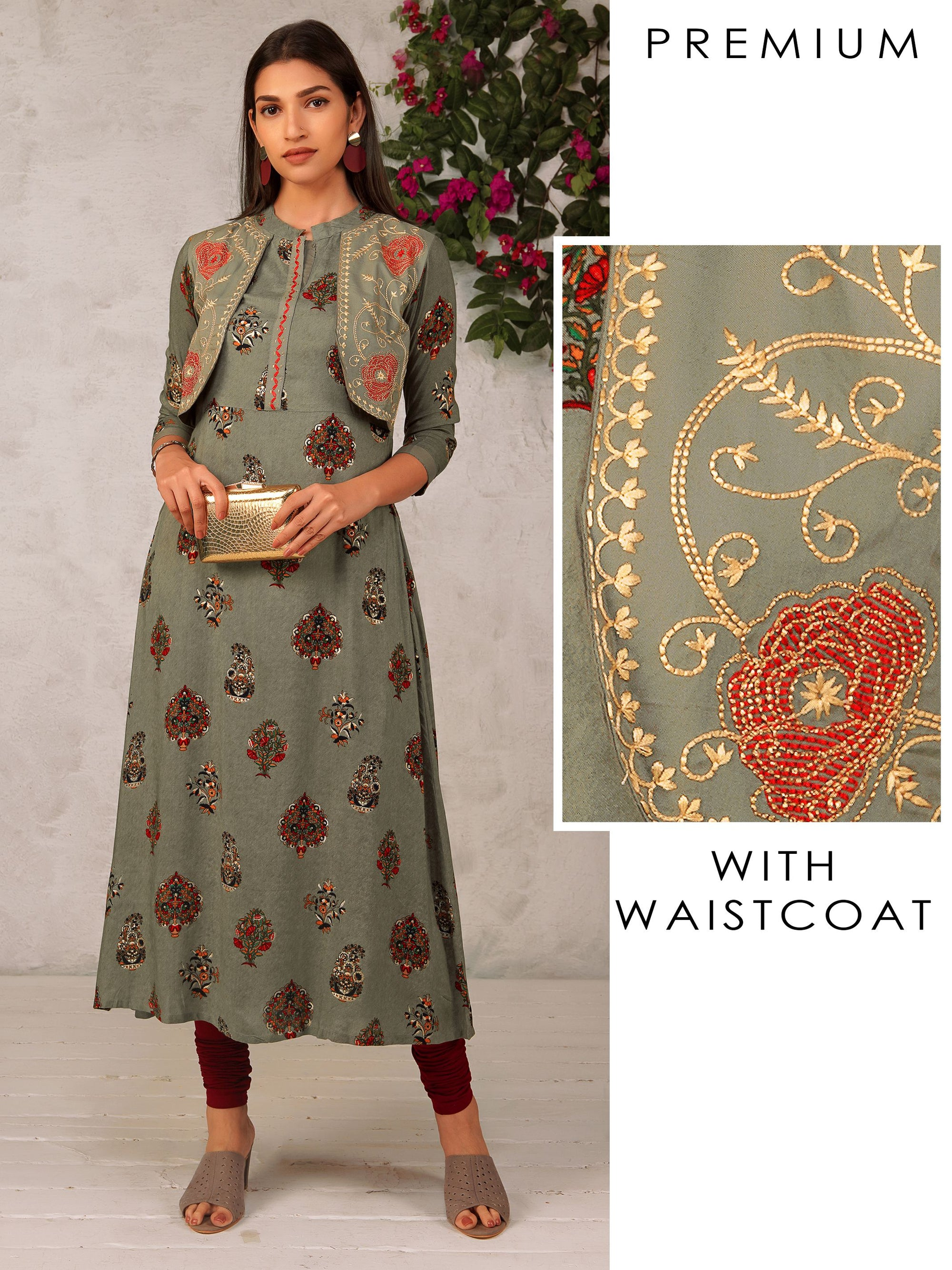 Flower Vase Printed Kurta And Embroidered Attached Jacket