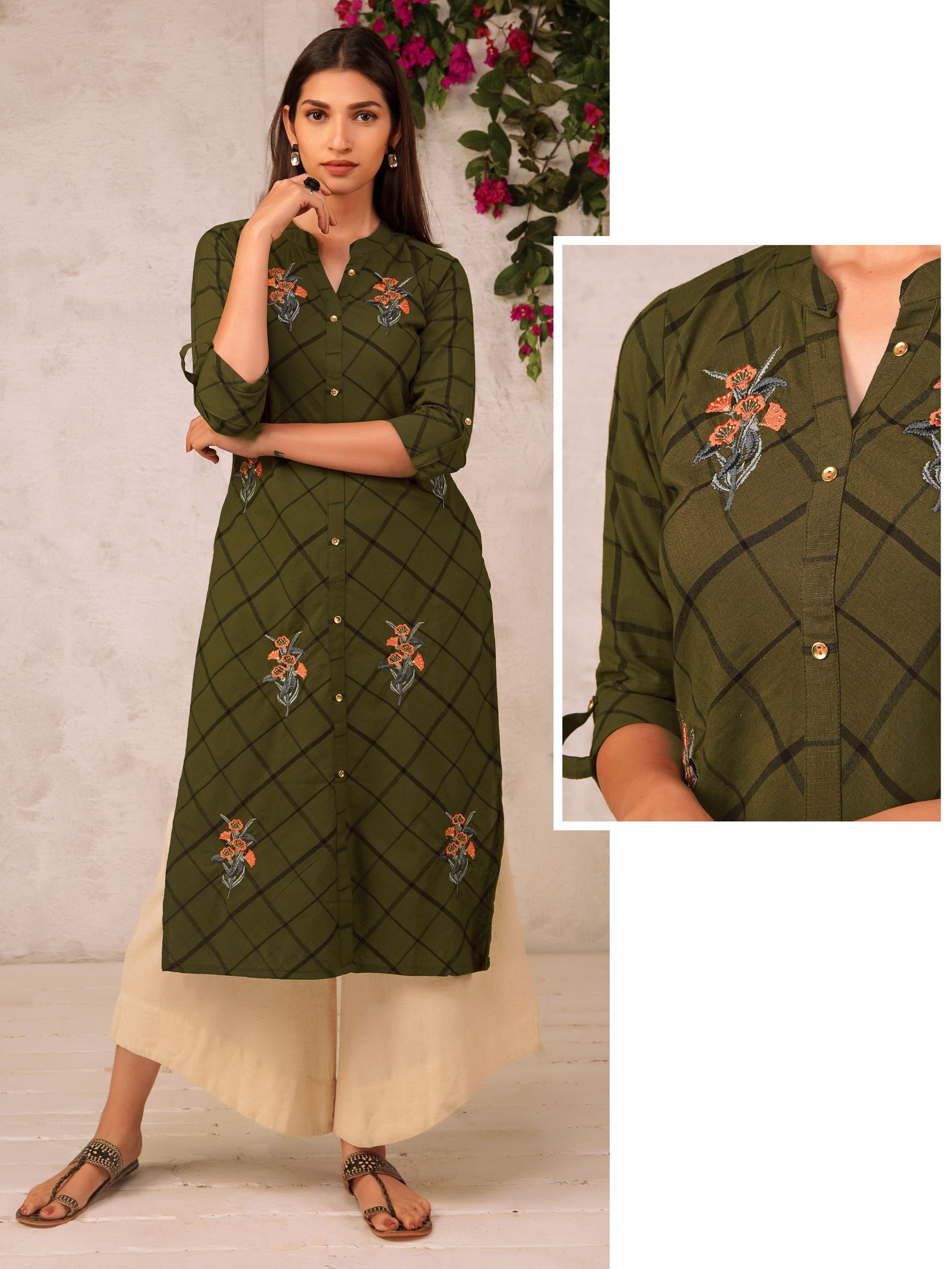 Checked & Floral Embroidered Cotton Kurti - Brown