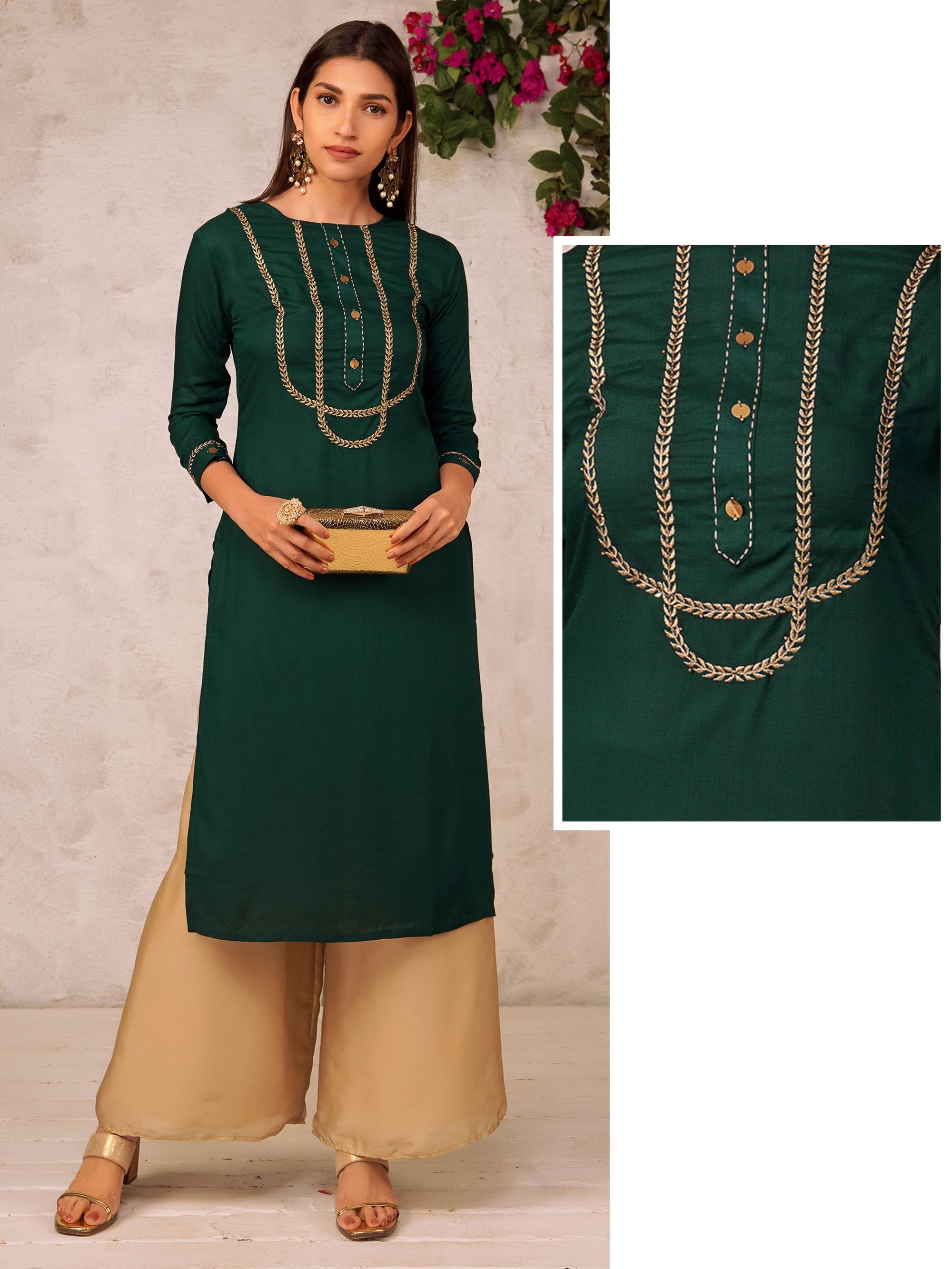 Golden Leaf Embroidered Kurta With Sequins Button – Dark Green