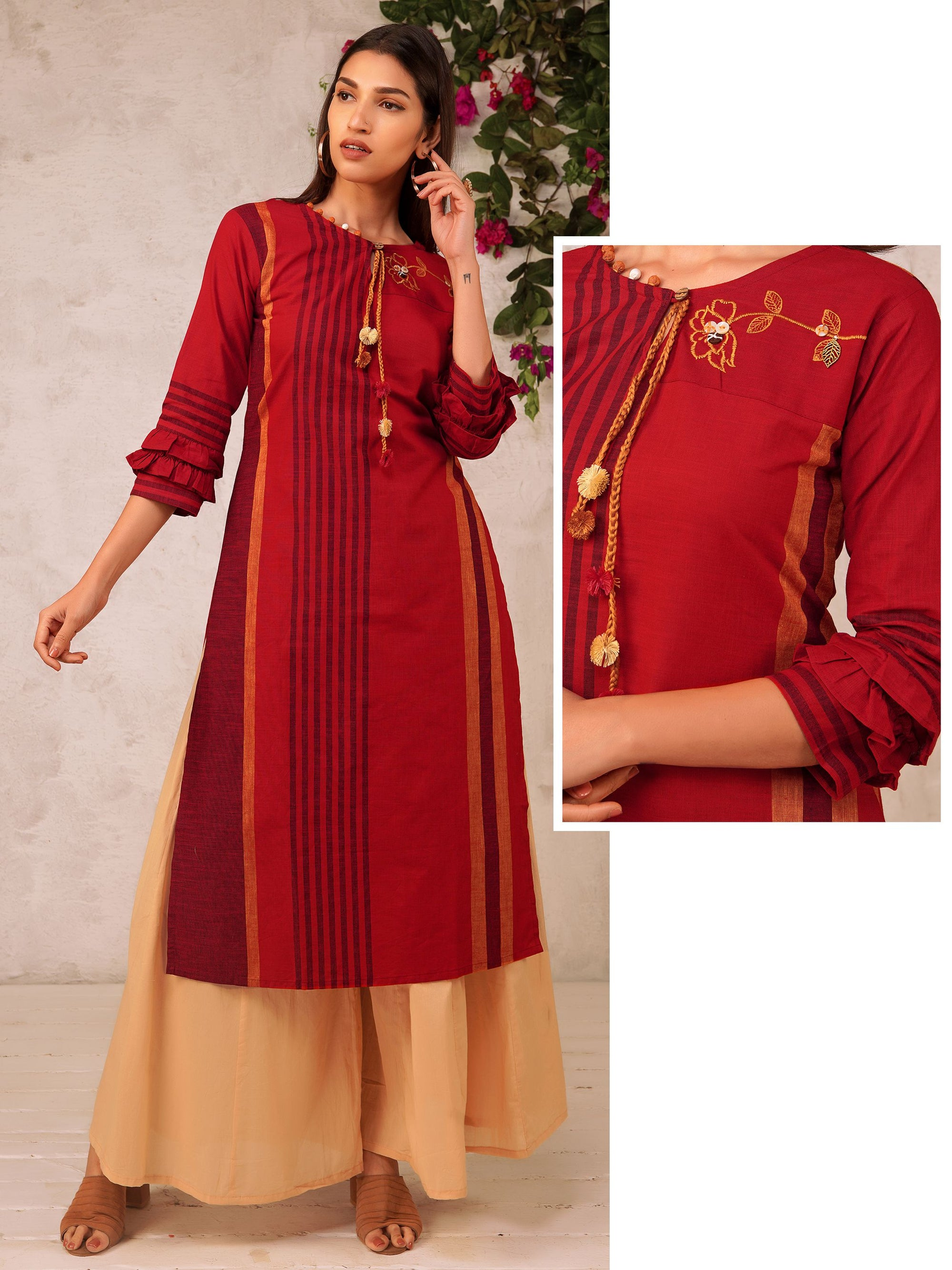 Resham Work Braided dori With Pompom Ornamented Cotton Kurti