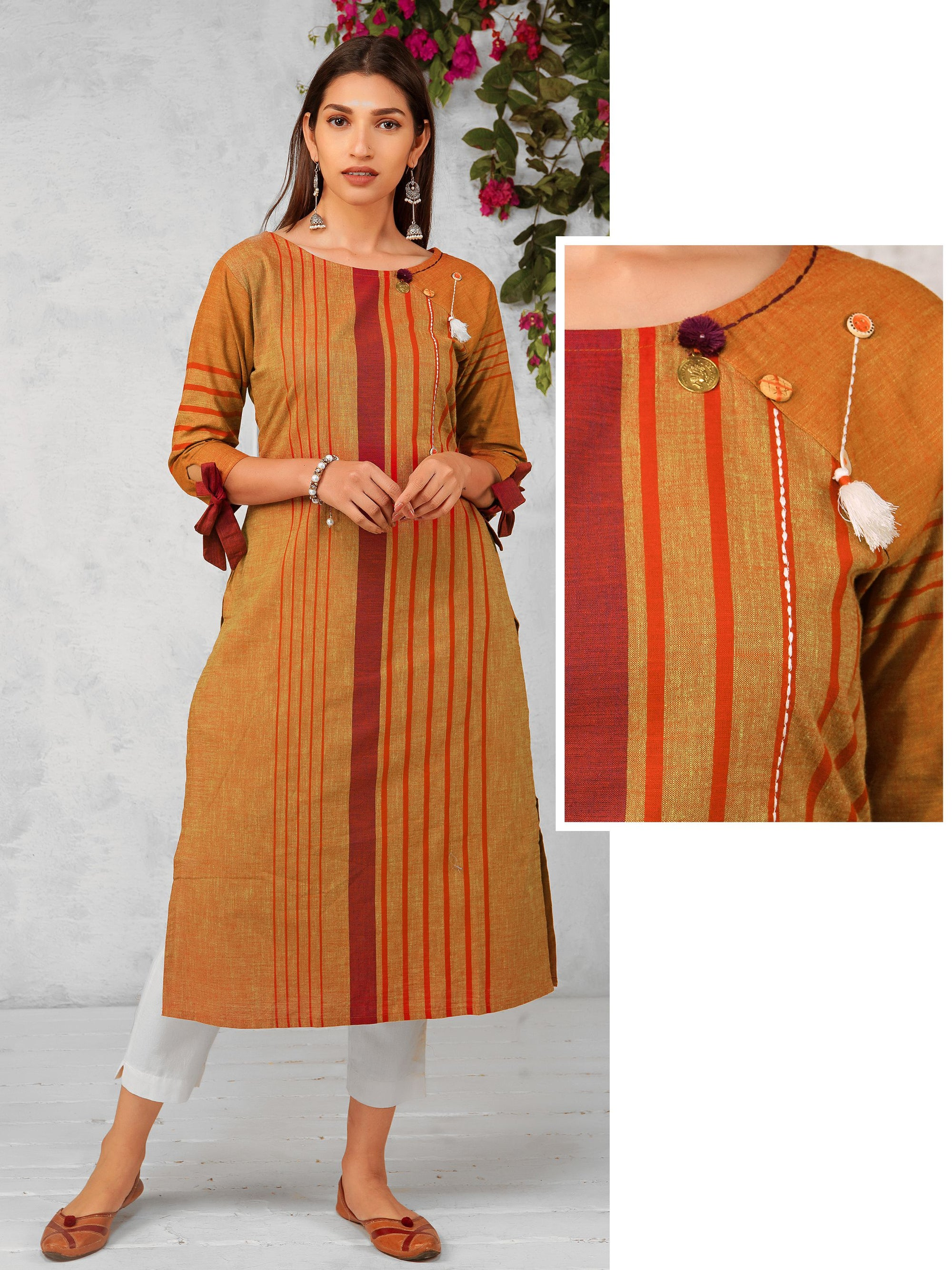Coin Tikki, Pompom & Mother-Pearl Button Ornamented Tie-up Sleeves Cotton Kurti