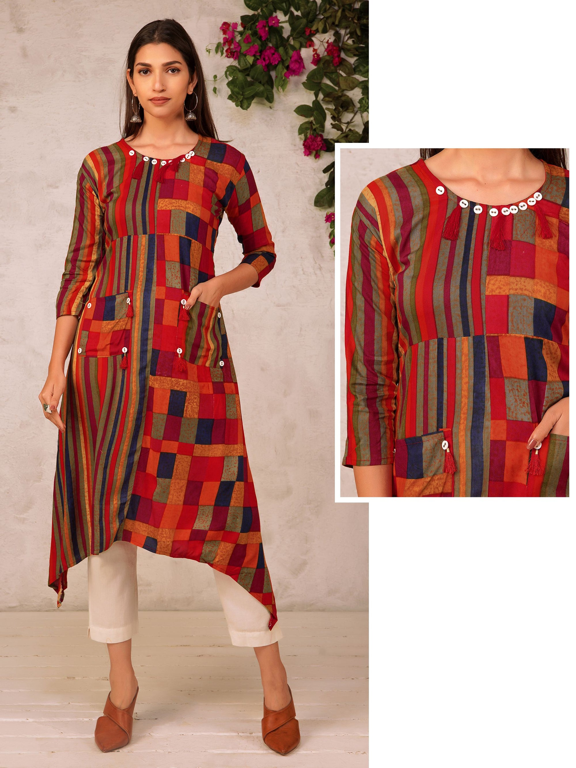Buttons & tassels Ornamented Striped & Checkered Kurti