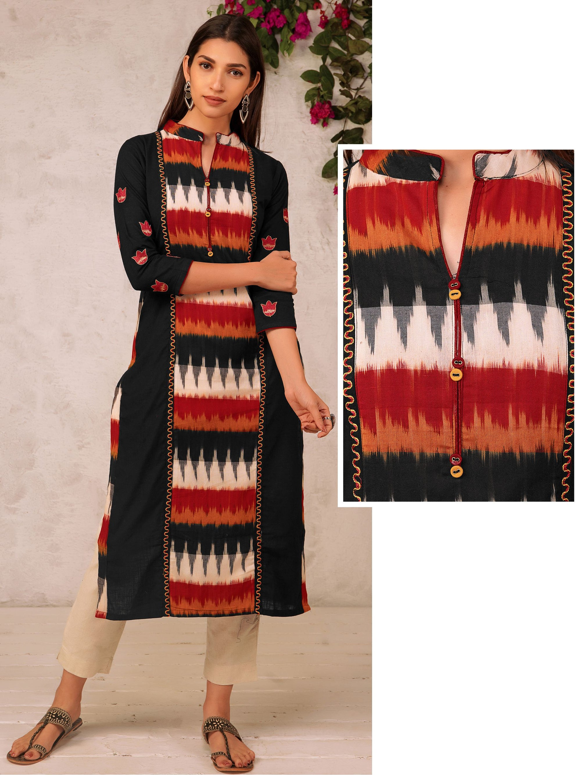 Ikkat Panelled & Embroidered Kurta