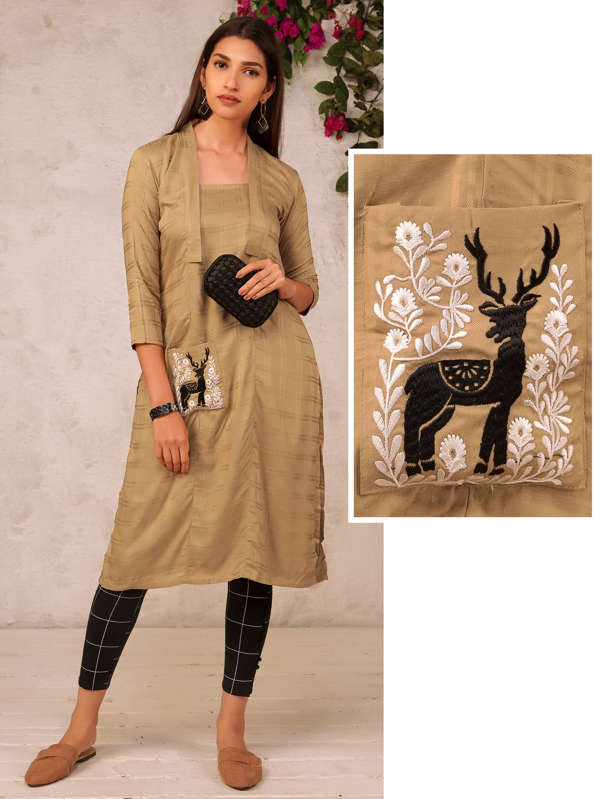 Resham Floral and Animal Embroidery Kurti Cotton Blend