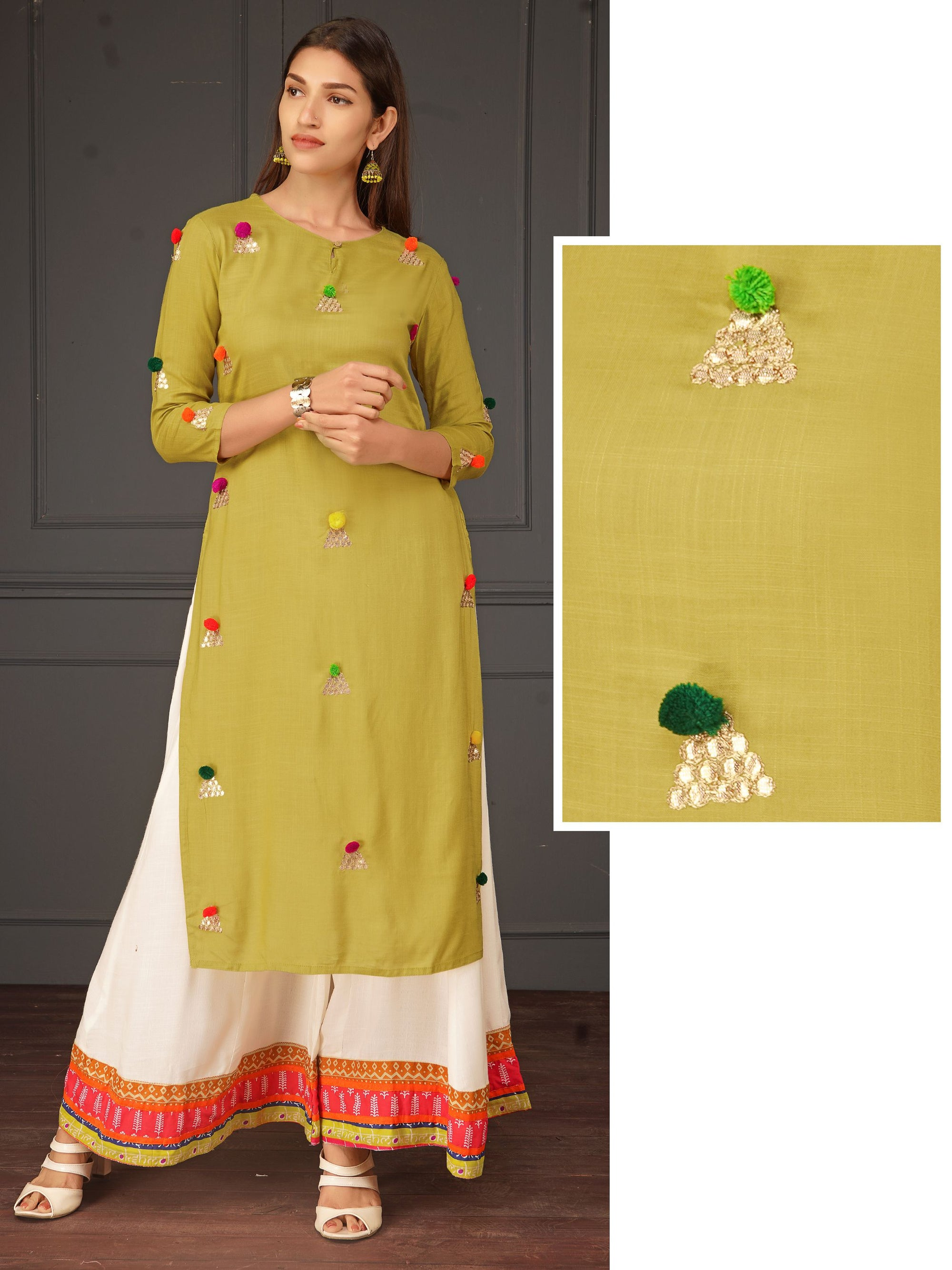 Gota & Pom-Pom Enhanced Cotton Kurti