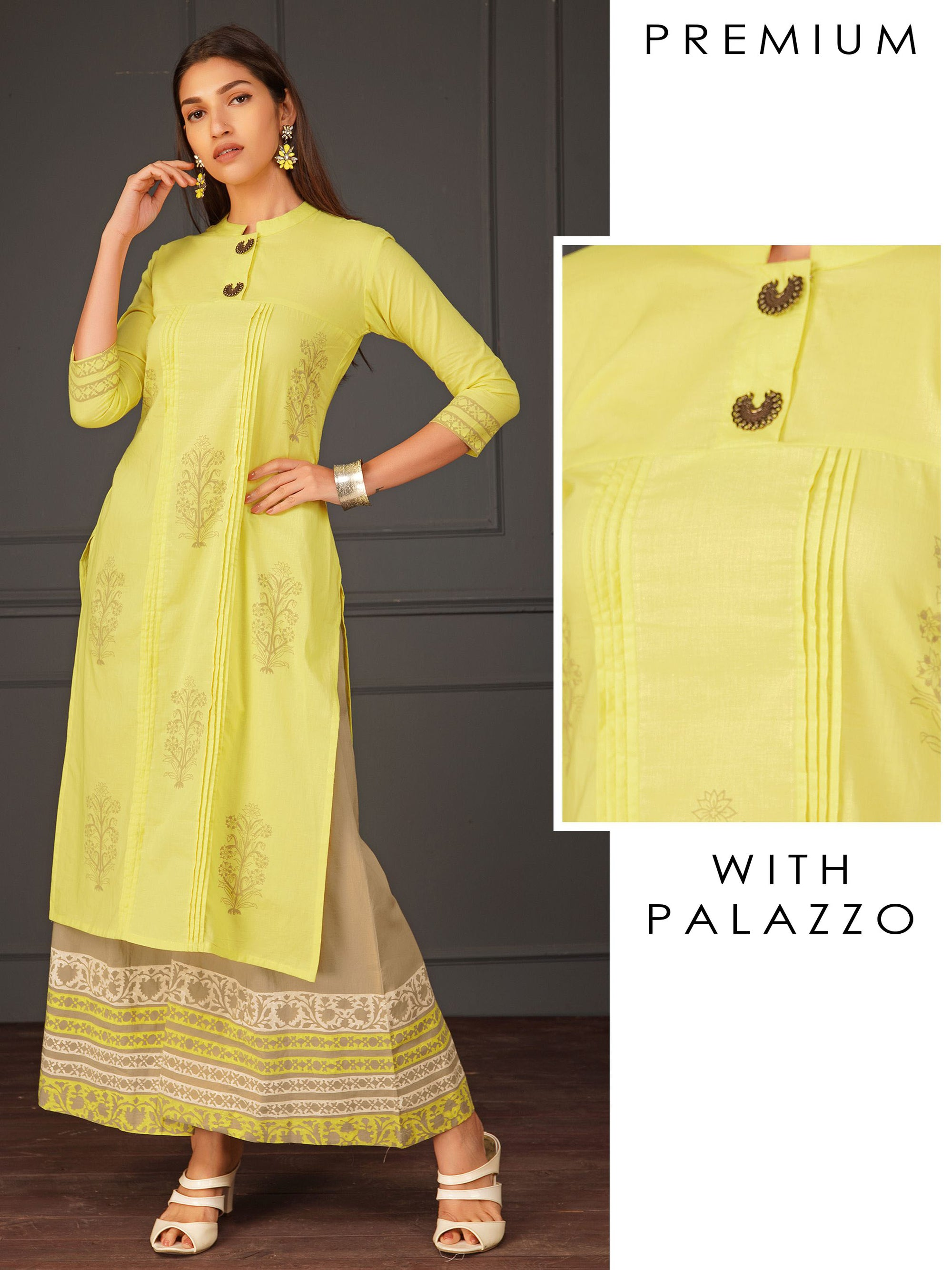 Printed Floral Motifs With Pintuck Design On Kurta and Palazzo Set