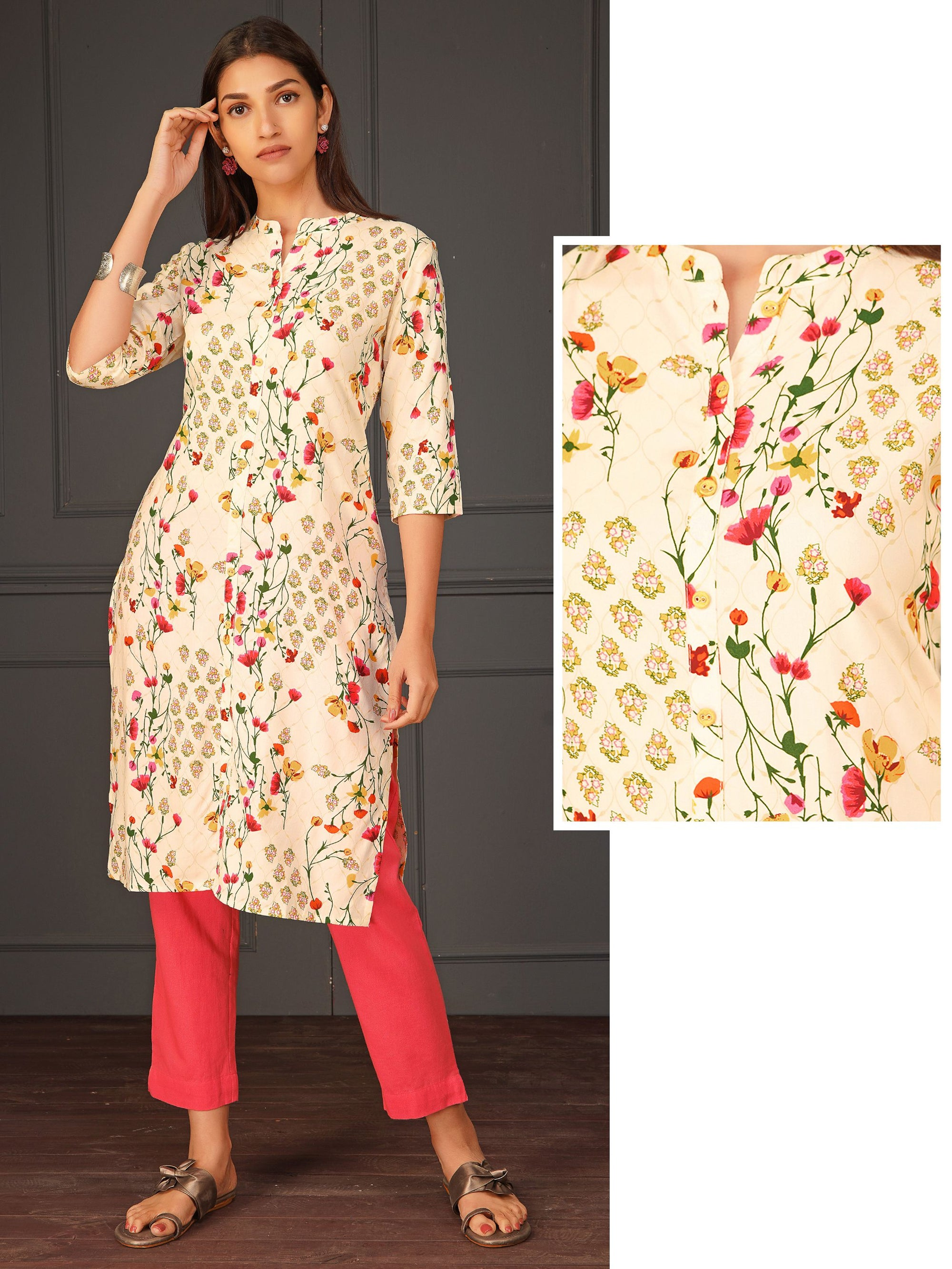 Mixed Floral Printed Kurta
