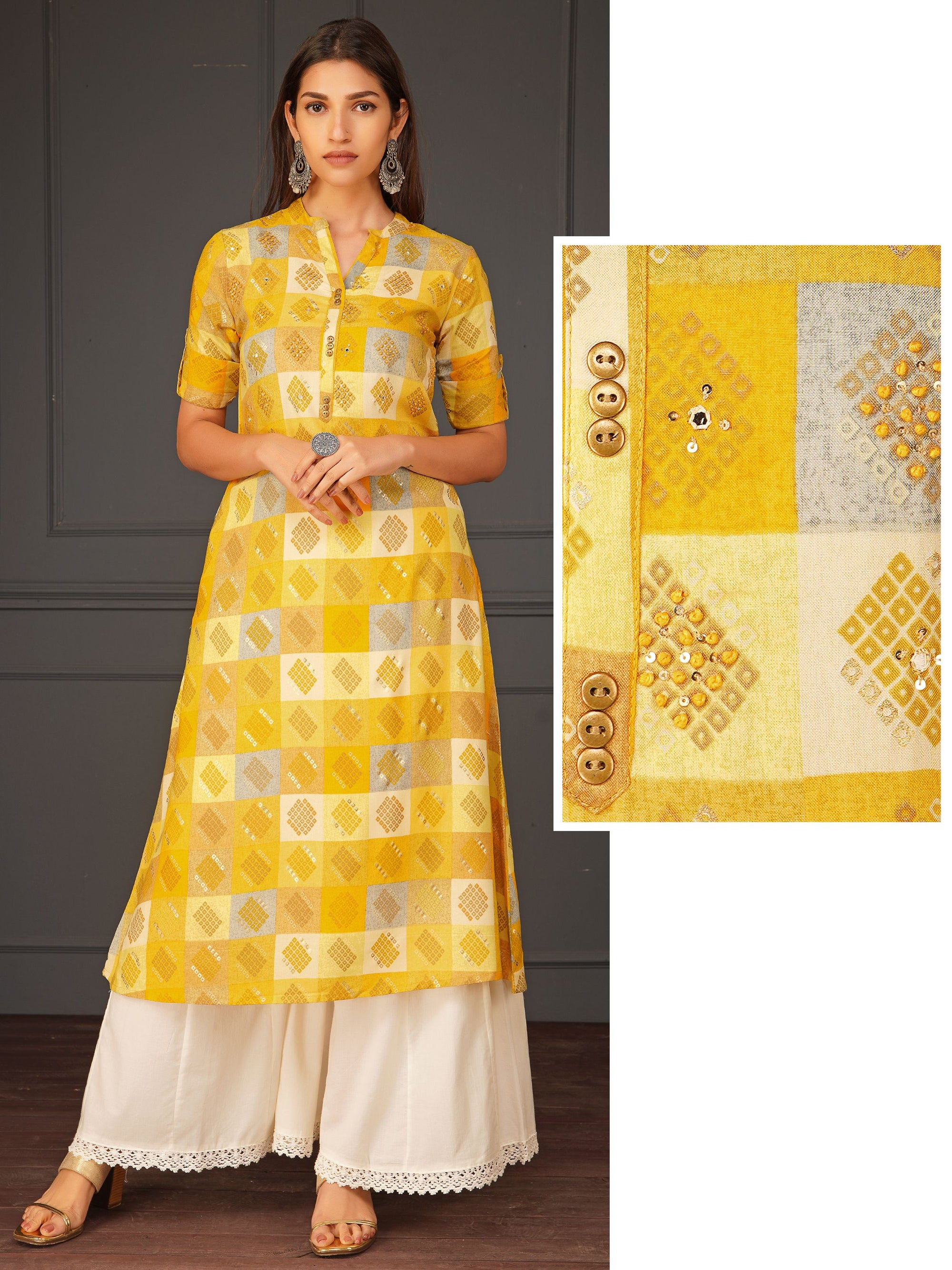 Checkered Printed Kurta With Foil Mirror Work With Sequins