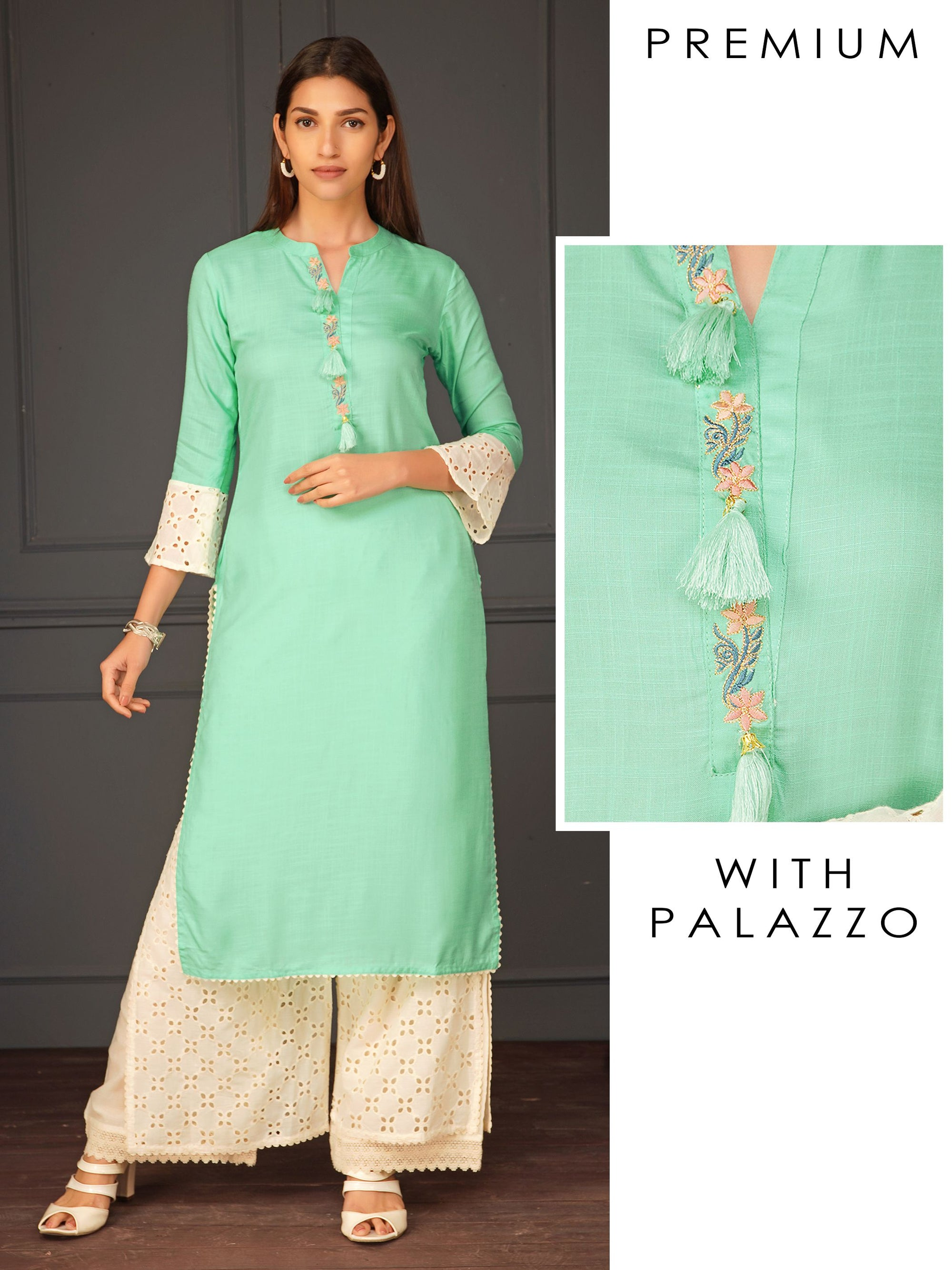 Embroidered Kurta With Hakoba Palazzo