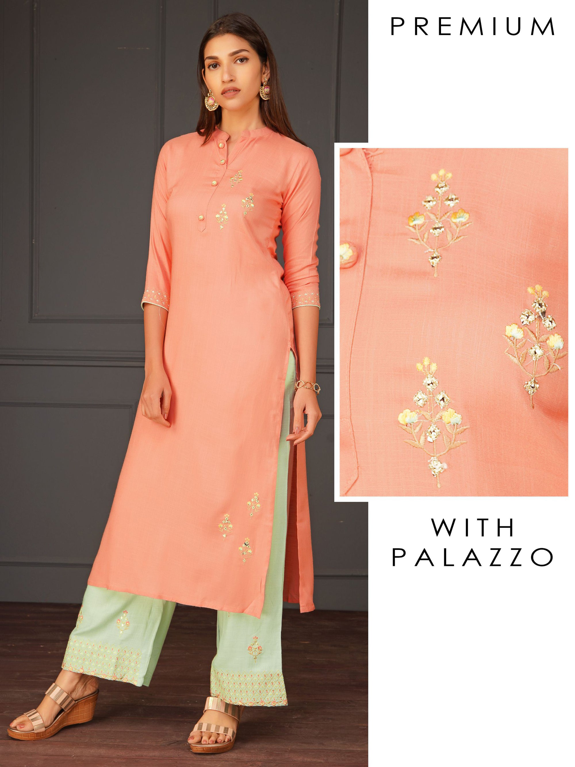 Elegant Kurta With Minimal Floral Embroidered Kurta And Palazzo