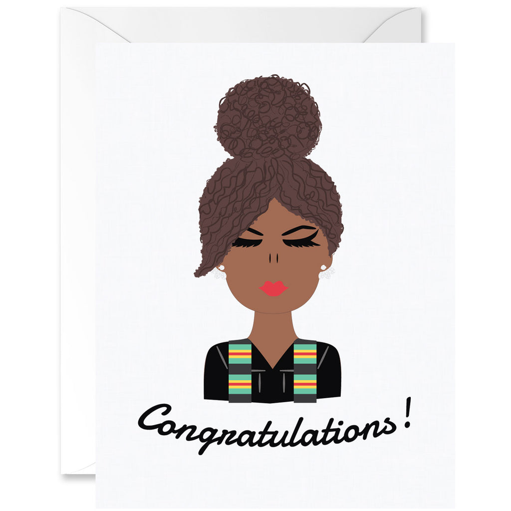 Hey Chica Curly Hair Mocha Skin Tone with Kente Cloth Sash Graduation Greeting Card [English]