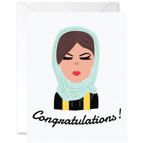 Hey Chica Hijab Outfit Almond Skin Tone Graduation Greeting Card [English]