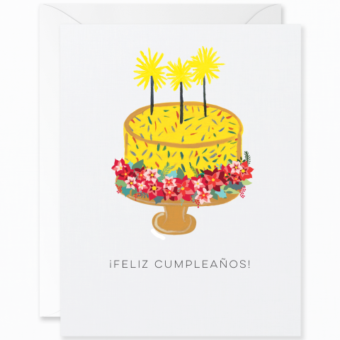 Cake and Sparklers Birthday with Poinsettias Crown [Spanish]