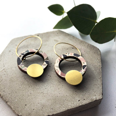 Terrazzo Circle Hoop Earrings - Multi