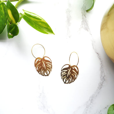 Gold Monstera Hoop Earrings