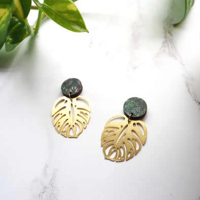 Gold Statement Monstera Earrings