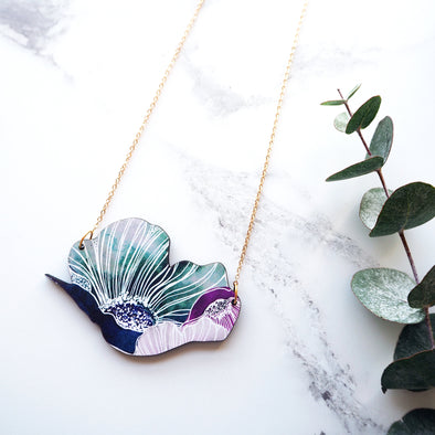 Anemone Floral Necklace - Blue