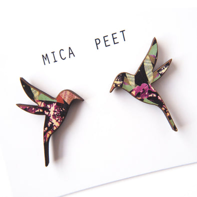 Patterned Hummingbird Stud Earrings