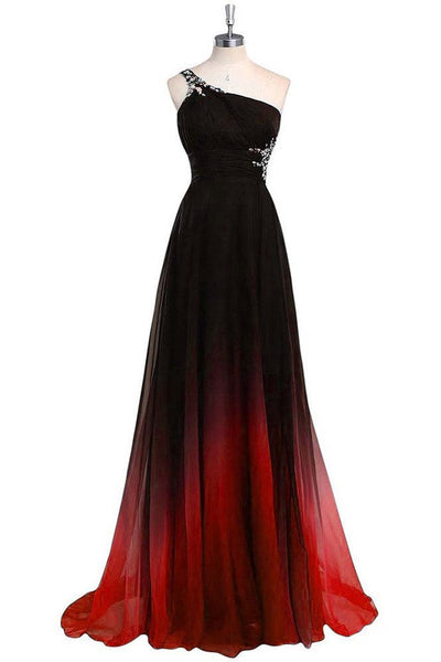 Gradient One Shoulder Chiffon Evening Dress,Ombre Prom Dresses with Beads,N733