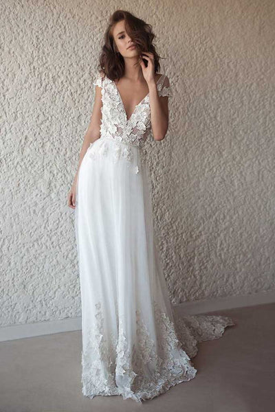 Ivory Cap Sleeve V Neck Wedding Dresses Beach Boho Appliques Bridal Dress N13923Ivory Cap Sleeve V Neck Wedding Dresses Beach Boho Appliques Bridal Dress N1402