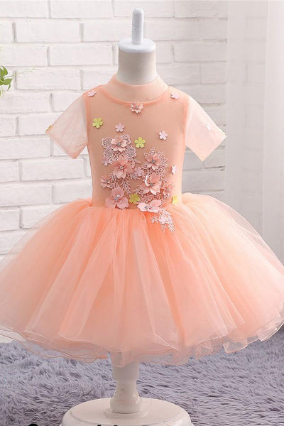 Cute Peach Short Flower Girl Dresses For Weddings High Neck Short Sleeves Dress F062