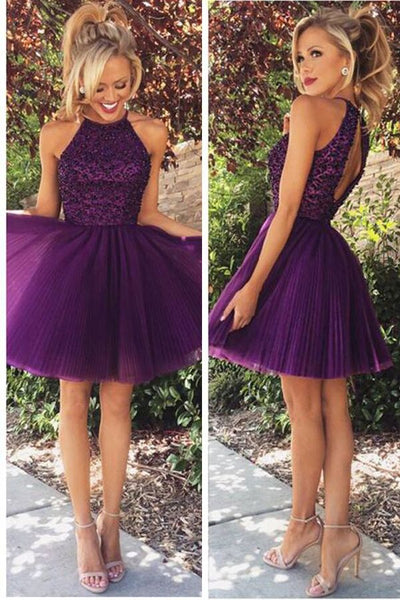 Open Back Homecoming Dress,Halter Purple Beaded Tulle Cocktail Dresses,Short Prom Dress,ED001