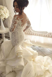 Gorgeous Long Sleeve Ivory Appliques Ruffles Wedding Gowns, Mermaid Bridal Dress