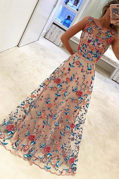New Style Popular A Line Sleeveless Long Prom Dresses Formal Dress with Flowers,N657