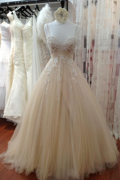 A Line Tulle Long Prom Dress with Straps,Sweetheart Lace Appliques Wedding Dress,N378