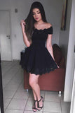 Black Off-the-shoulder Lace Homecoming Dress,Short Prom Dress for Teens,Mini Grad Dresses,N327