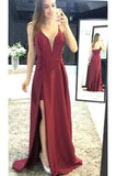 Burgundy Sleeveless Prom Dresses, Spaghetti Strap Split Satin Party Dresses N1724