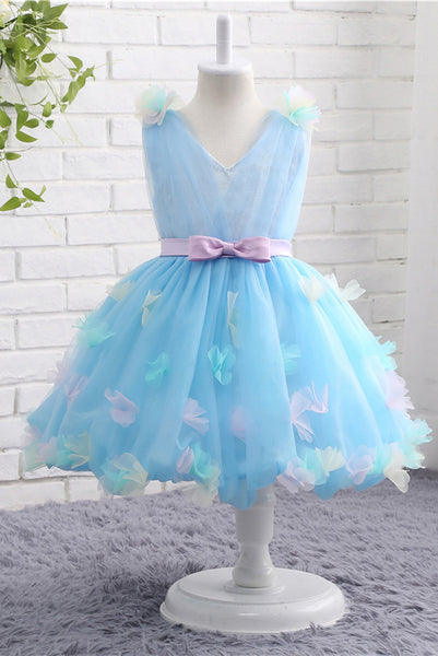 A-Line V Neck Sky Blue Tulle Flower Girl Dress with Aplique Bow F060