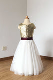 Cheap Floor Length Sequin Ivory Tulle Flower Girl Dress with Burgundy Sash F016