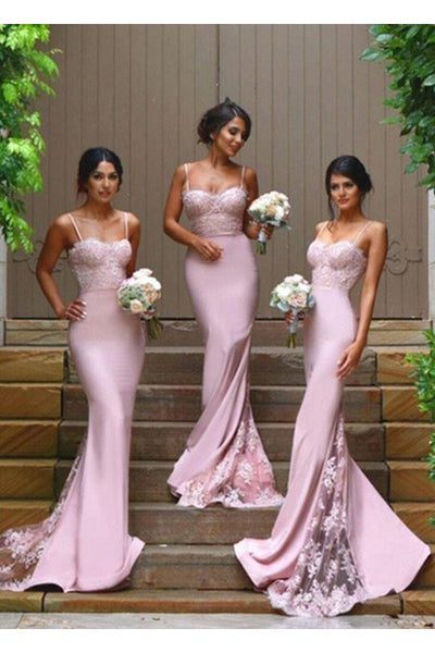 Pink Gorgeous Spaghetti Straps Mermaid Lace Backless Long Bridesmaid Dress N20