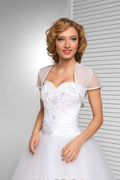 White Short Sleeve Wedding Bolero Bridal Cape, Organza Wedding Wraps