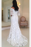 White Off the Shoulder Lace Wedding Dress, Half Sleeves Sweep Train Lace Bridal Dress N1120