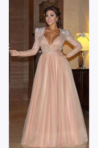 Elegant Long Sleeve Formal Dress with Beads, A Line Sparkle V Neck Evening Dresses