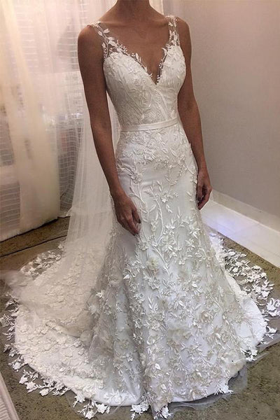 Ivory V Neck Sheath Sleeveless Backless Charming Lace Wedding Dresses N1795