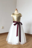 Cheap Floor Length Sequin Ivory Tulle Flower Girl Dress with Burgundy Sash