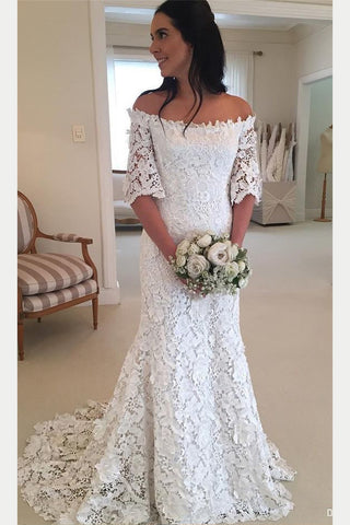 White Off the Shoulder Lace Wedding Dress, Half Sleeves Sweep Train Lace Bridal Dress