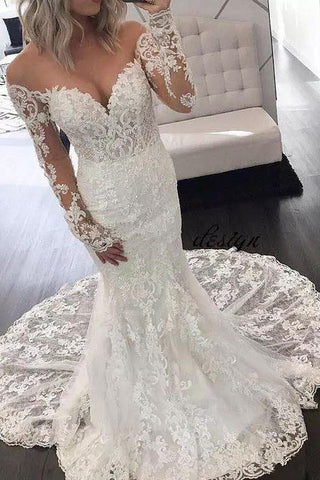 Illusion Long Sleeve Lace Mermaid Wedding Dresses, Gorgeous Long Bridal Dresses N1778