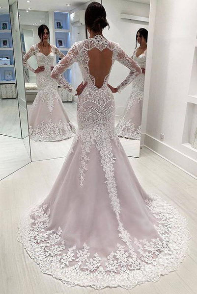Vintage Long Sleeves Mermaid Wedding Dresses, Long Open Back Bridal Dresses N1794