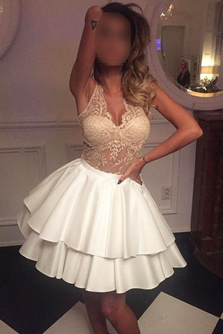 See-through Sexy Lace Top Sleeveless Homecoming Dress,Tiered Stain Short Prom Dresses,N287