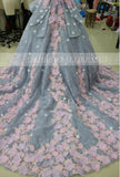 Pretty Ball Gown Wedding Dress with Flowers,Long Backless Wedding Gowns,Big Bridal Dress,N230