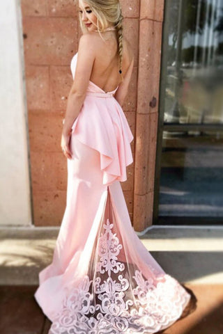 Mermaid Halter Pink Formal Dress with Lace, Sexy Long Backless Satin Prom Dresses