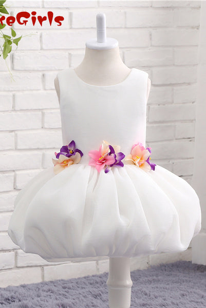 A-line Flower Girl Dress with Applique, Unique Sleeveless Flower Girl Dress with Flower F058